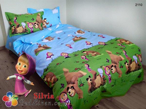 Детски спален комплект ранфорс Маша и Мечока